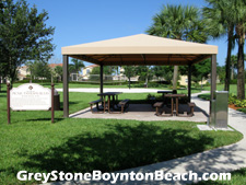 This shaded picnic area is ideal for enjoying a weekend get-together.