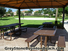 The combination of shaded picnic pavilion and adjacent volleyball court makes this Greystone facility a great place to host an active outdoor gathering.