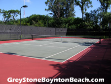 Greystone's lighted tennis court is a great placeget in a match after work.